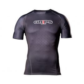 GRIPS ATHLETICS WASP SHORT SLEEVED RASHGUARD - BLACK HONEYCOMBE