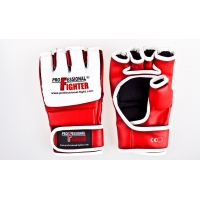 PROFESSIONAL FIGHTER MMA GLOVES SYNTHETIC LEATHER RED