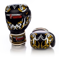 PROFESSIONAL FIGHTER BOXING GLOVES THAI MODEL BLACK/GOLD
