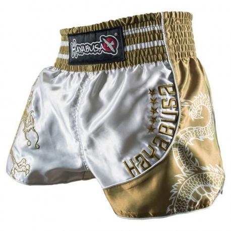HAYABUSA SACRED MUAY THAI SHORTS - SILVER / GOLD