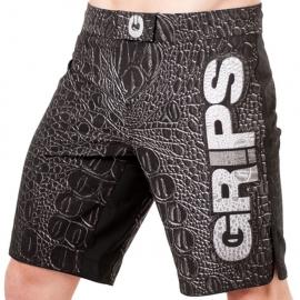 GRIPS ATHLETICS CROCO FIGHT SHORTS - BLACK