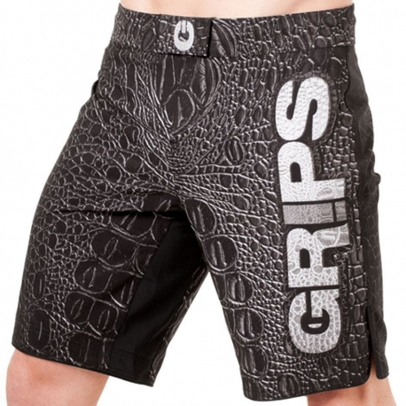 GRIPS ATHLETICS CROCO FIGHT SHORTS - BLACK